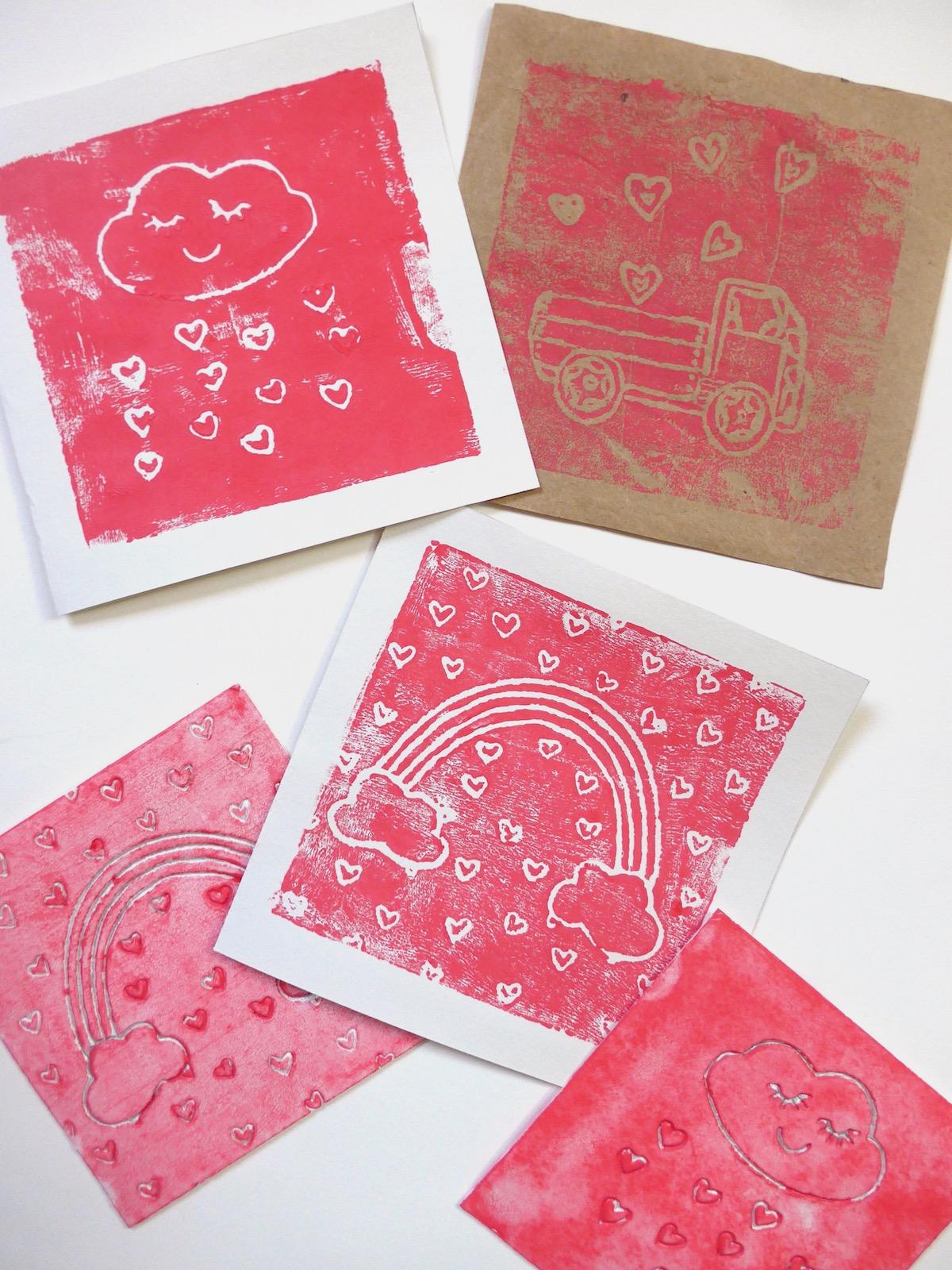 Styrofoam Print Valentines