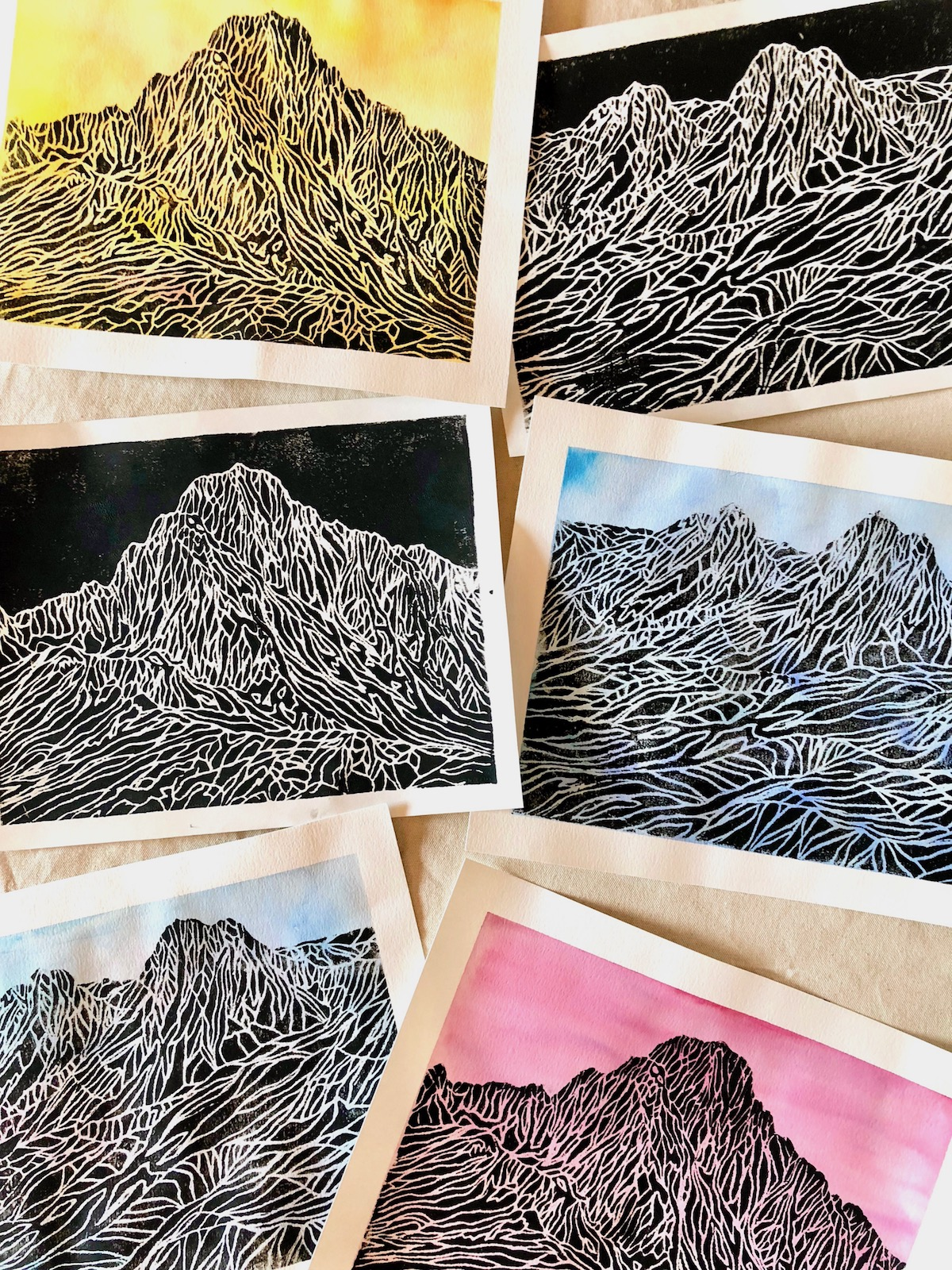 Mountain Styrofoam Prints